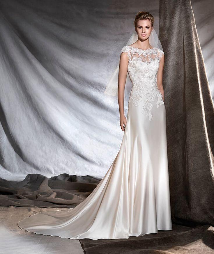 ODINE - Vestido de novia escote barco estilo evasé