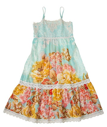 Derhy Kids Tiered Peasant Twirly Sun Dress - I like The way they have a coordinating oversized print as the middle tier and a smaller print on the bottom ruffle