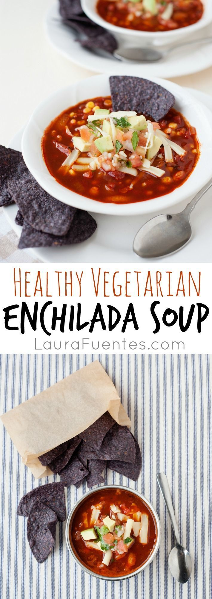Easy vegetarian enchilada soup that is hearty and filled with rich smoky flavors. This healthy version has minimal calories compared with the traditional Mexican dish!