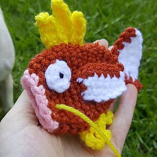 Mini Magikarp! This pattern was designed to be worked up quickly. I am making these to leave at Pokestops for others to find. It's tons of fun! You should do the same! If you do please send me a picture or tag it #crochetgo so I can see your guys hiding :D