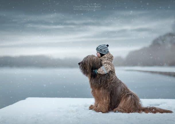Un enfant et un gros chien dans la neige