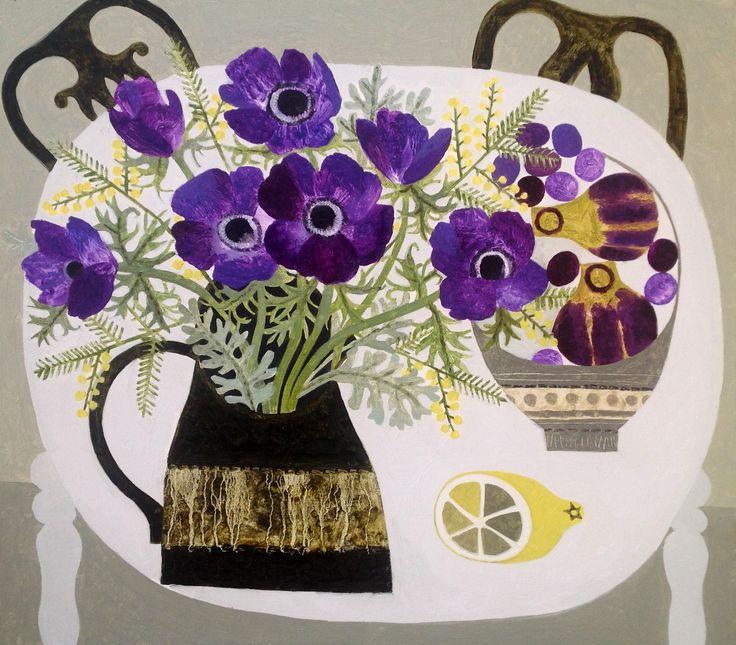 Enlarge Purple Anemones & Mimosa by Vanessa Bowman