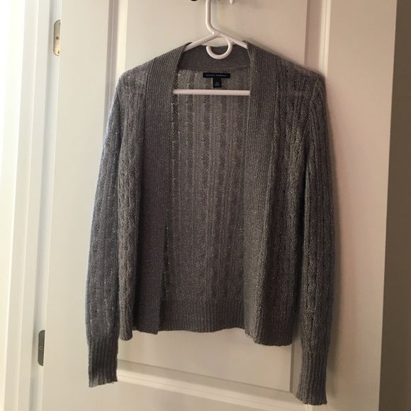 Banana Republic Silver Cardigan - XS Open front cardigan, gray with silver detailing. Very gently worn, with minor polling as seen in 4th photo. Banana Republic Sweaters Cardigans