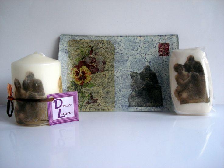 Bandeja de 11x 16 cm. on vela y jabón a juego de 100 gr. decorados con decoupage.