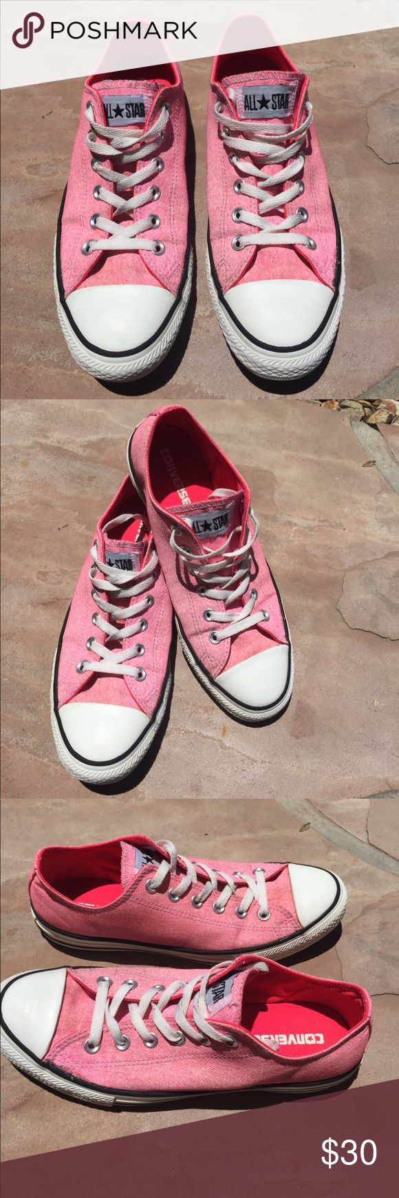 Converse Neon Pink/White Canvas Sneakers Women's Size 10/Men's Size 8. Preowned but great shape please view all 8 photos. No holes or stains and look pretty new! Converse Shoes Sneakers