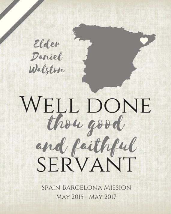 a73c3f438ec3 LDS return missionary sign (customized) Well Done Thou Good and Faithful  Servant