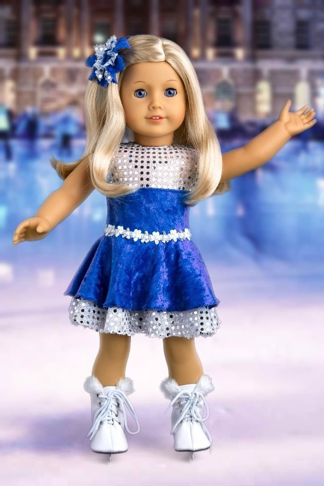 Ice Dancer - 3 Piece Blue Ice Skating Outfit for 18 inch American Girl Doll #DreamWorldCollections
