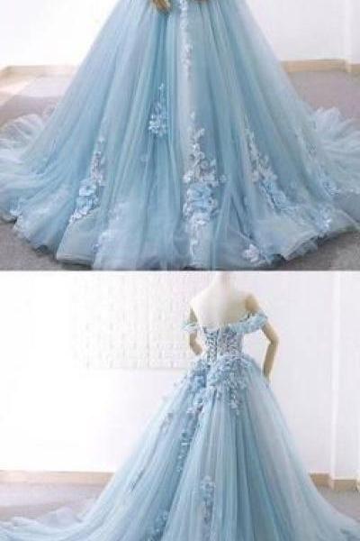 2f5183d331a3 Off Shoulder Tiffany Blue Lace Beaded A-line Long Evening Prom Dresses,  Cheap Sweet 16 Dresses,P3052
