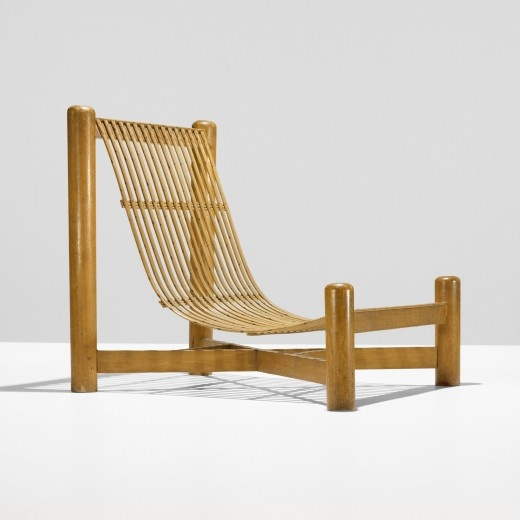 Charlotte Perriand and Pierre Jeanneret; Oak and Bamboo Lounge Chair for the Union des Artistes Modernes Exhibition, 1937.