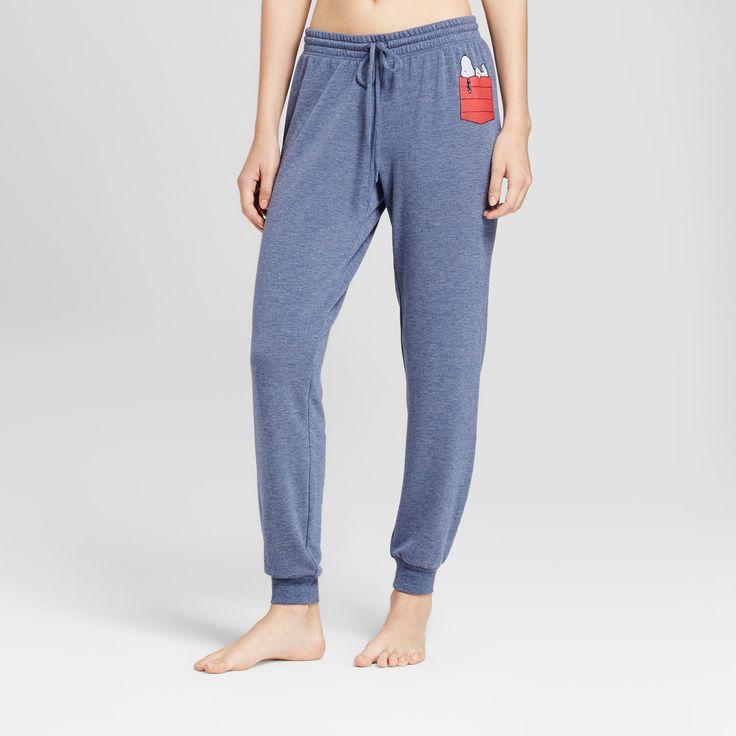 Women's Snoopy Pajama Pants with Pocket - Indigo S, Blue