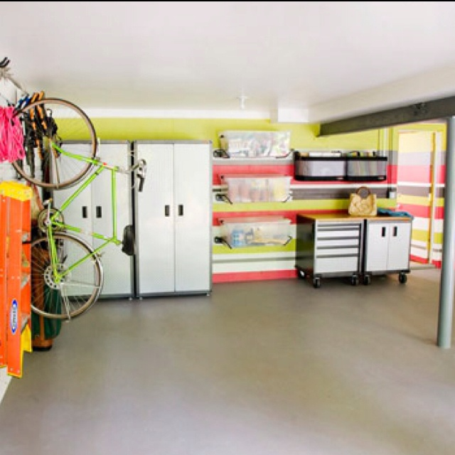 I like the bike racks....we should move them from the garage to the basement. The cabinets for our ski stuff and shelves/rolling cabinets for tools!