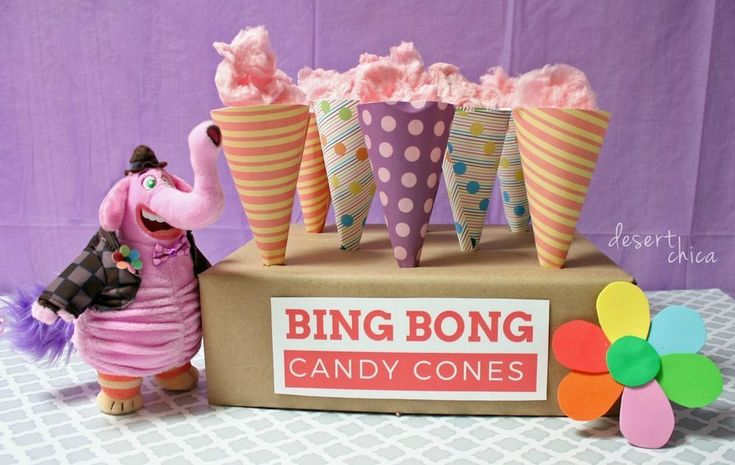 Planning an Inside Out Party? Don't forget to print your own Bing Bong Candy Cones, they are perfect for caramels and cotton candy!