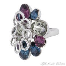 Rhodium Ring - Colorful Backdrop - United States - Fifth Avenue Collection - Jewellery that changes the way you see fashion