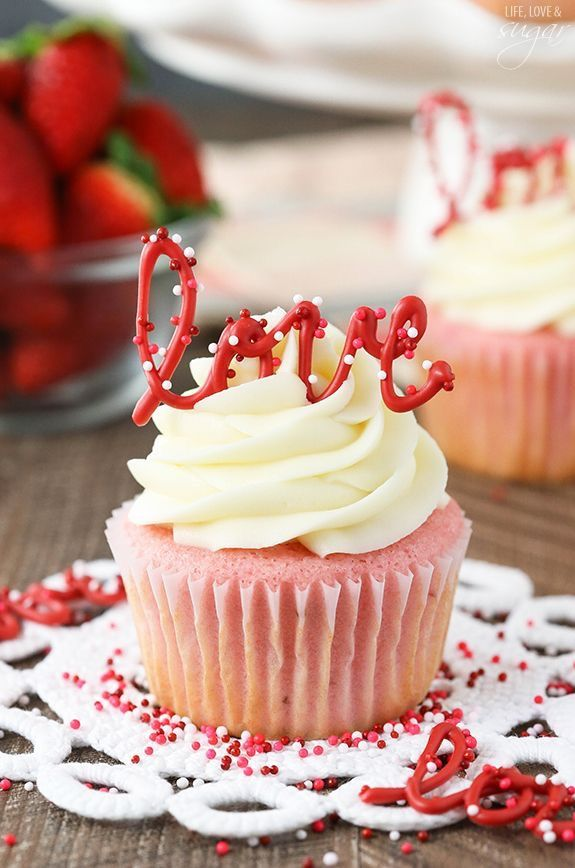 Strawberry cupcake with cream cheese frosting.