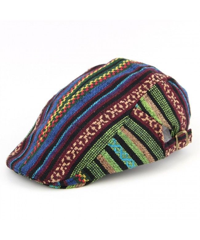 LOUDelephant Colourful pattern cotton flat cap - Green