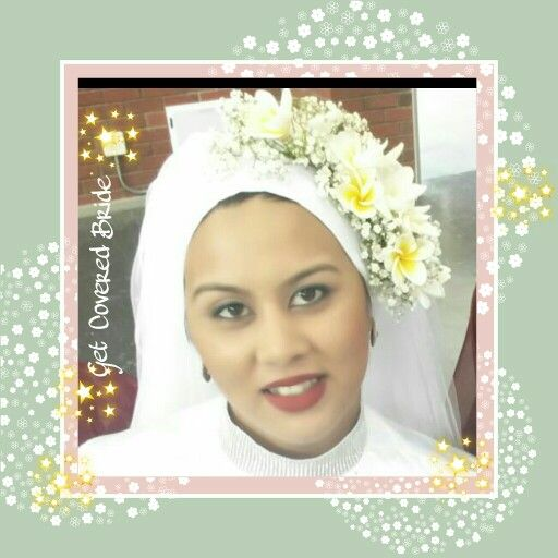 Bride Mushfiqah, fresh flowers & love. Get Covered bridal headgear
