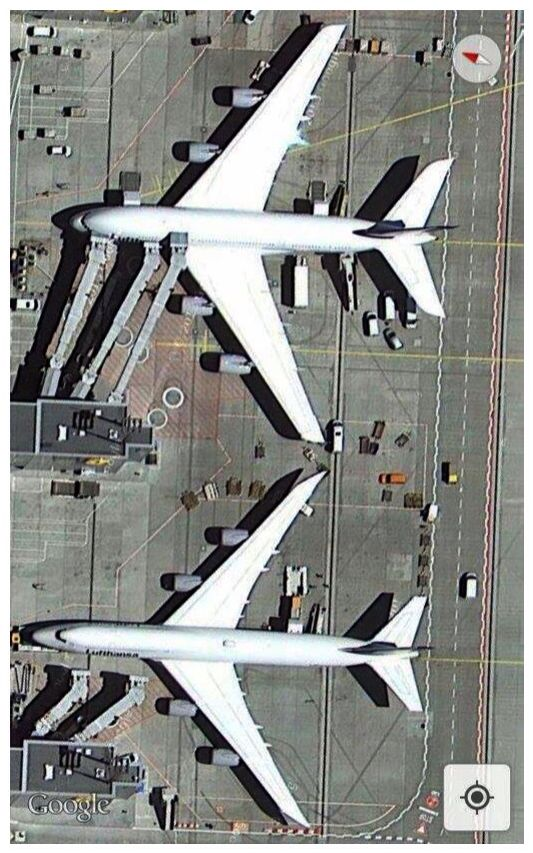 Mega jets -- the Airbus A380-800 & Boeing 747-8 Intercontinental -- looks like both are Lufthansa, at a German airport in this user generated Google Maps screensnap