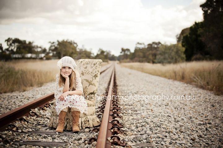 child portrait  railway tracks  vintage theme