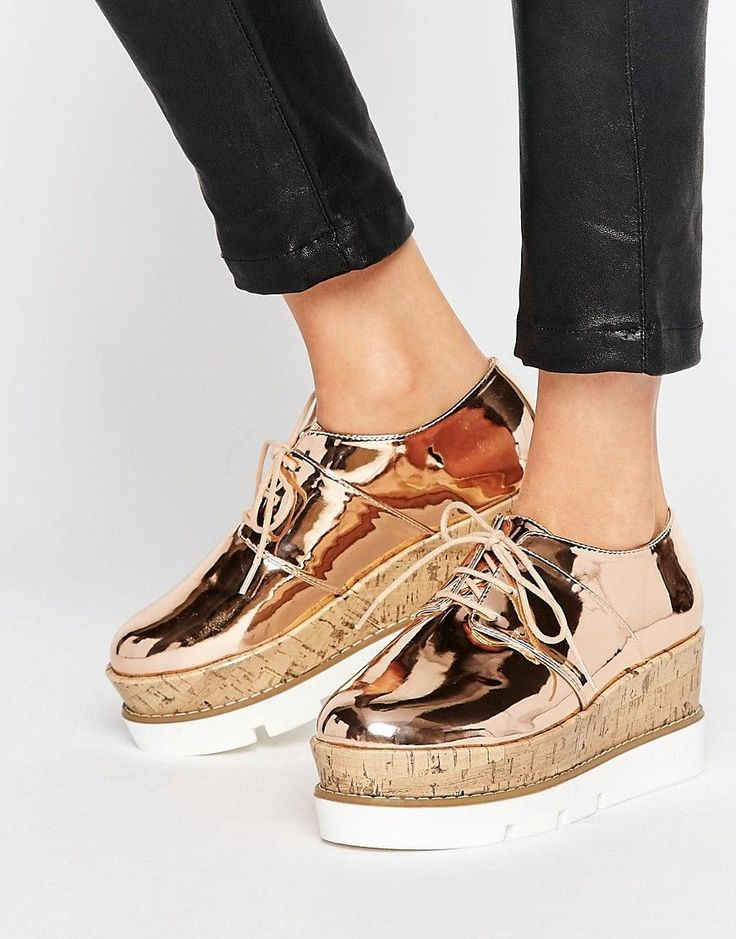 ASOS OLYMPIC Lace Up Flatforms - Beige