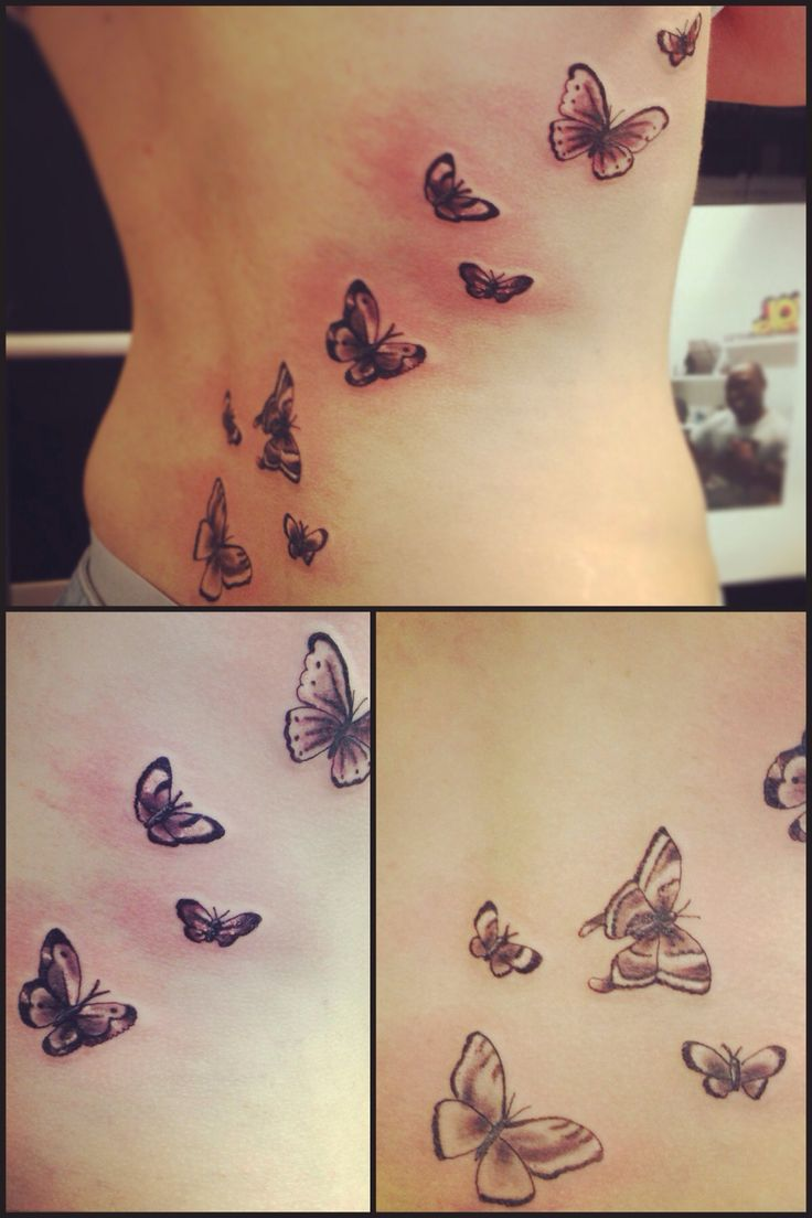 Butterflies on ribs Black and grey tattoo Pinterest