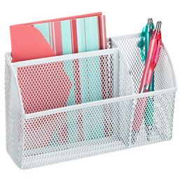 Like this! But not available for sale online! The Container Store > White Magnetic Mesh Organizer Bin