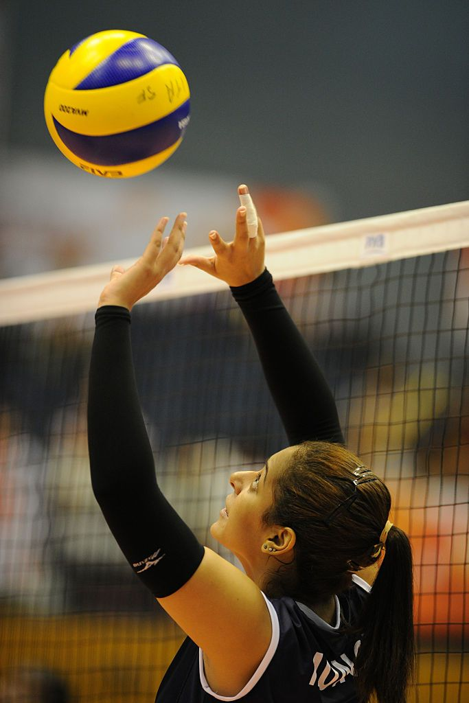 Alexandra Munoz Of Peru Tosses In Warm Up Prior To The Match Between Women Volleyball Warmup Warm