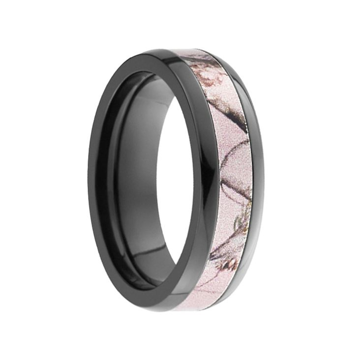 AMAZON Domed Black Zirconium Promise Ring with Pink Camo Inlay by Lashbrook Designs - 6mm