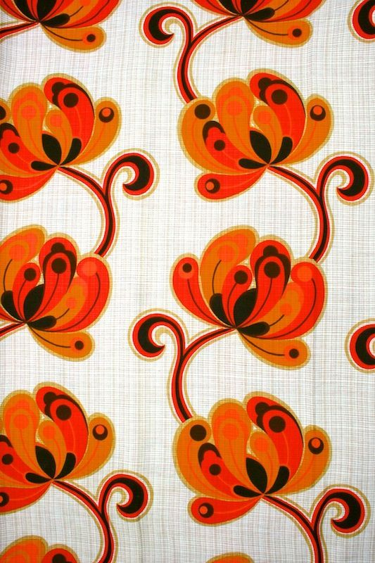 Original retro wallpaper & vinyl wallcovering from the sixties & seventies / #orange