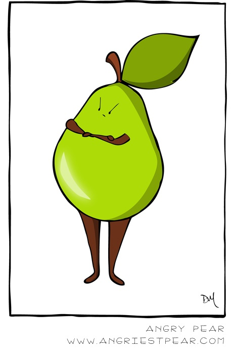 angry pear pear illustration or comic. so angry...