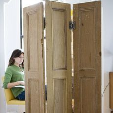 screen made from hinges and shutters - this is what I can do with those doors from the laundry closet!