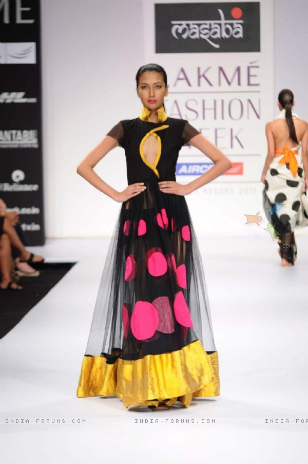 A model walks the runway at the Masaba's show at Lakme Fashion Week day 2 in Mumbai. .
