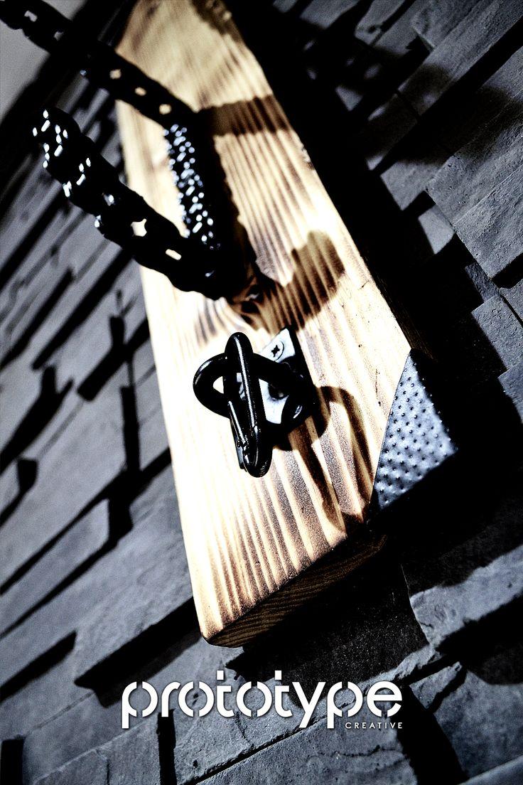 Prototype Creative - Solo Chain Helmet Rack 3 - DIY - Motorcycle chain rack created from motorcycle chain and burned wood.