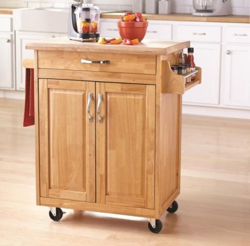 Natural Kitchen Island Cart Mobile Portable Rolling Utility Storage Cabinet  Wood