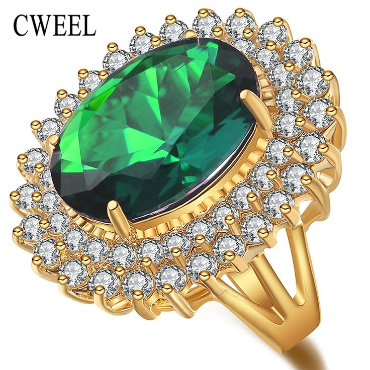CWEEL Engagement Wedding Gold Plated Big Rings For Women Imitation Crystal&Zircon Gift Water Drop Bridal Party Holiday Ring