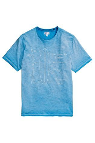 Buy Blue Garment Dyed Surfboard T-Shirt online today at Next: Denmark