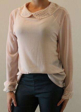 Kaufe meinen Artikel bei #Kleiderkreisel http://www.kleiderkreisel.de/damenmode/blusen/112673150-durchsichtige-bluse-mit-nietenapplikationen