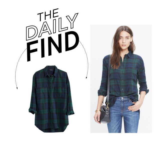 """Daily Find: Madewell Plaid Boyfriend Shirt"" by polyvore-editorial ❤ liked on Polyvore featuring moda, Madewell i DailyFind"