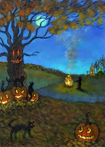'Fire Heads' pumpkins jack o'lanterns witch halloween cat art by Kathe Soave