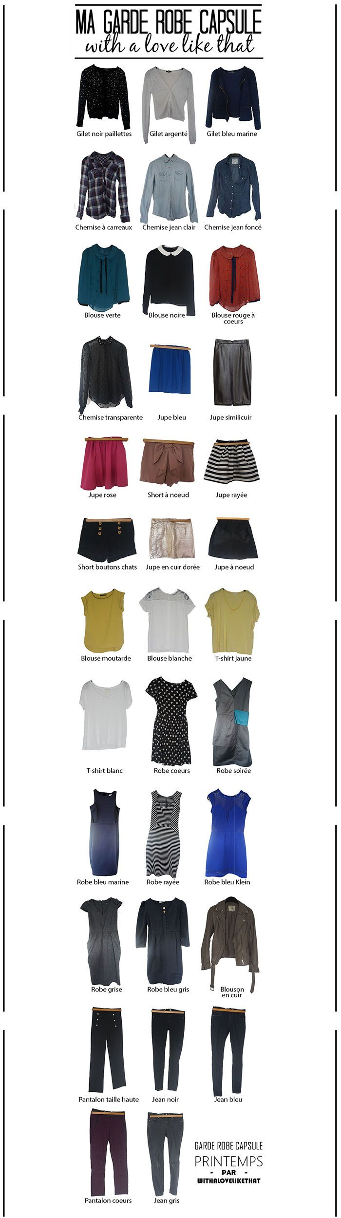 Ma garde robe capsule printemps, comment j'ai réussi à réduire le nombre de vêtements dans ma garde robe. Résultat, plus de simplicité et plus de style