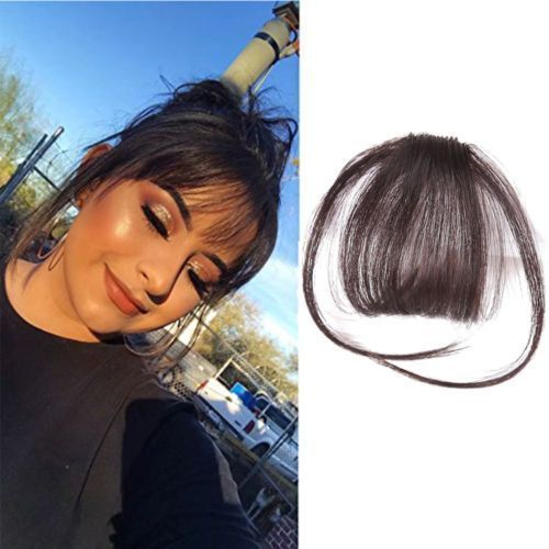 Details about Thin Neat Air Bangs Remy Human Hair Extensions Clip in on Fringe Front Hairpiece   -  #haarverlängerungenBlond #haarverlängerungenGera...