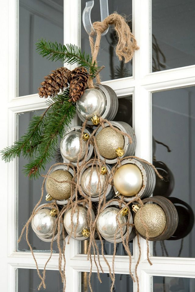 This Sparkly Mason Jar Lid Door Display Is So Much Better Than a Christmas Wreathcountryliving