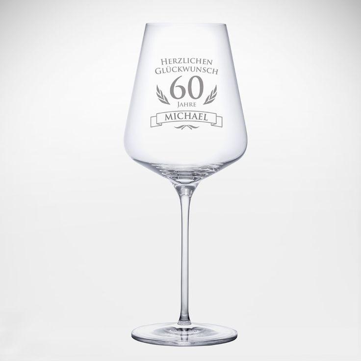 Ihre individuelle Gravur auf einem Weinglas! Unser Weinglas zum 60. Geburtstag ist ein edel graviertes Weinglas zum Geburtstag, das den Ehrentag versüßt. #60ter #Geburtstag #Geburtstagsgeschenk #Weinglas