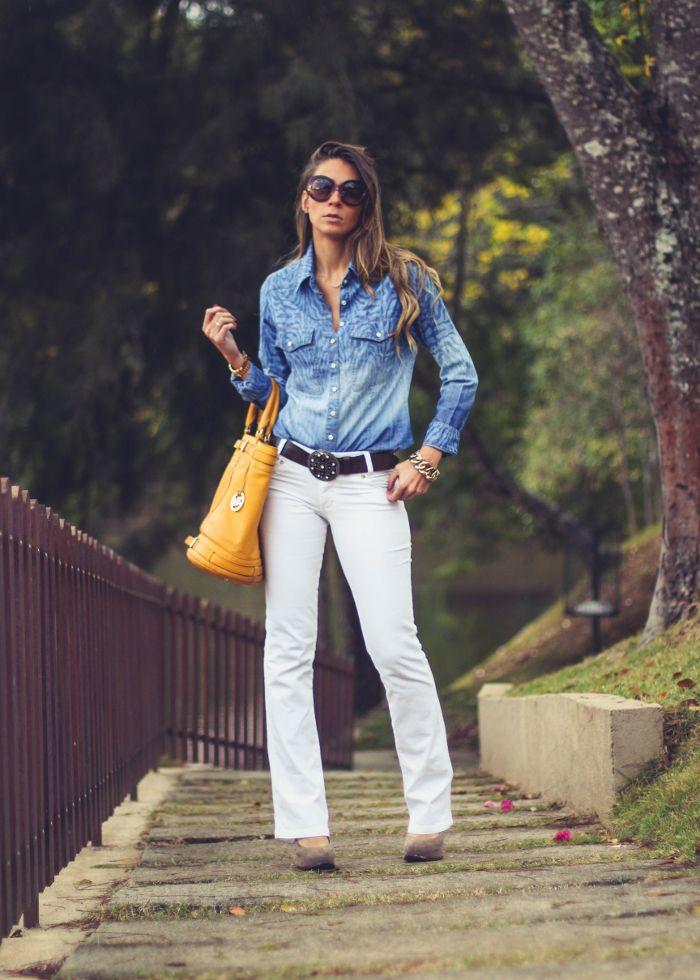 1x1.trans Calça Jeans Branca + camisa jeans