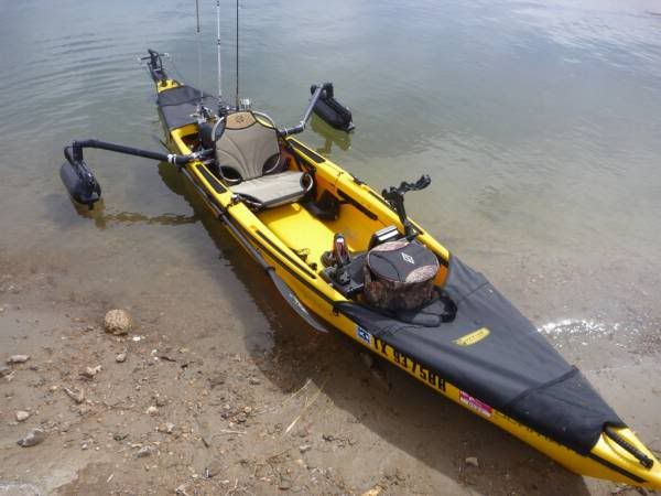 How to make canoe stabilizers photos of your kayak setup for Best canoe for fishing
