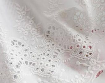 Amplia bordados ojal algodón encaje Trim por la yarda (anchura 24 cm) blanco 84493