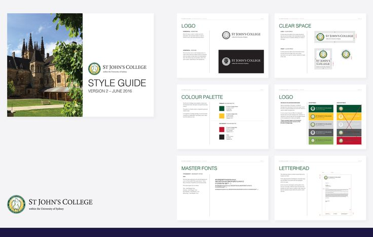 Style guide for the rebrand for St John's College, USYD. Correct logo usage, fonts, colours and collateral formatting to ensure consistency of the brand across boards.