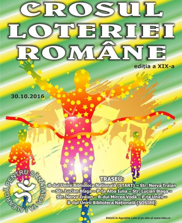 Loteria Romana organizeaza cea de-a XIX-a editie a Crosului Loteriei Romane, competitie care se adreseaza atat profesionistilor cat si iubitorilor sportului