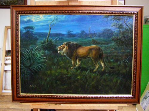 Lion's song painting - original Oil on canvas, 50 x 70 cm, frame high-quality frame wood Ajuš without natural defects (knots, etc.).