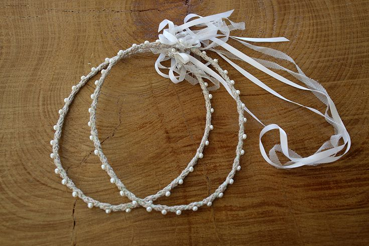 Στέφανα γάμου με κερωμένο κορδόνι και μαργαριτάρια Atelier Zolotas #ThisIsHandmade