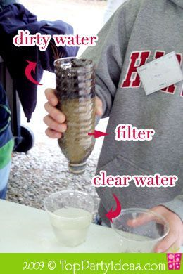 Eco Friendly Activity - Try to get the clearest water as possible ~ Plus book tie into Hatchet.
